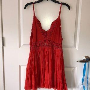 NWT Free People orange lace crochet dress